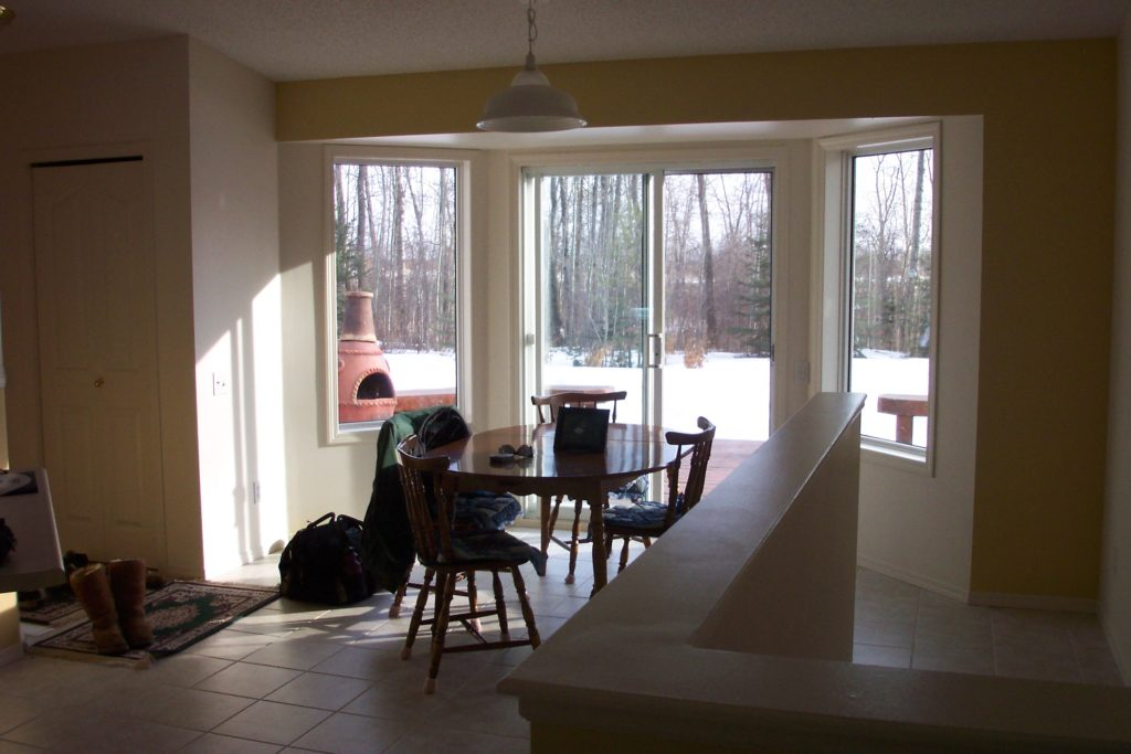 A dining nook in need of a makeover