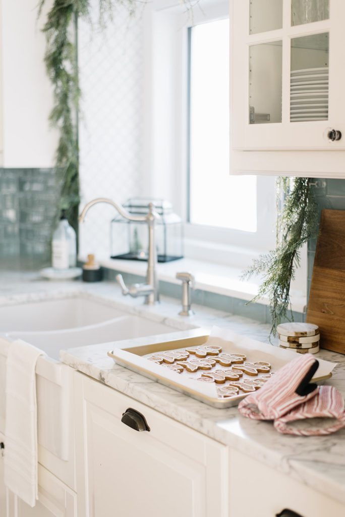 Gingerbread cookies are yummy and double as Christmas decor sitting on the counter.