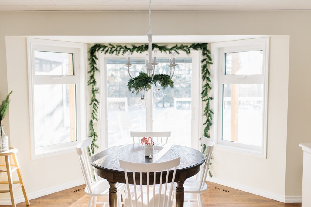 Simple greens add a festive Christmas spirit to The Ginger Home\'s Dining Nook