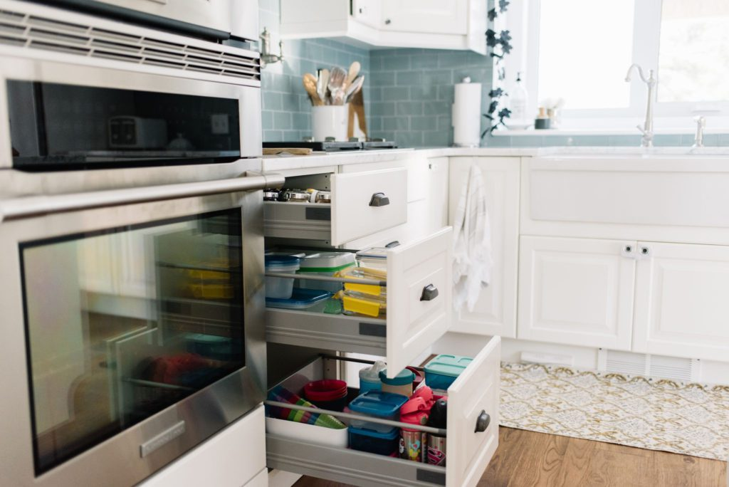 Drawers are the best way to maximize storage in a small kitchen