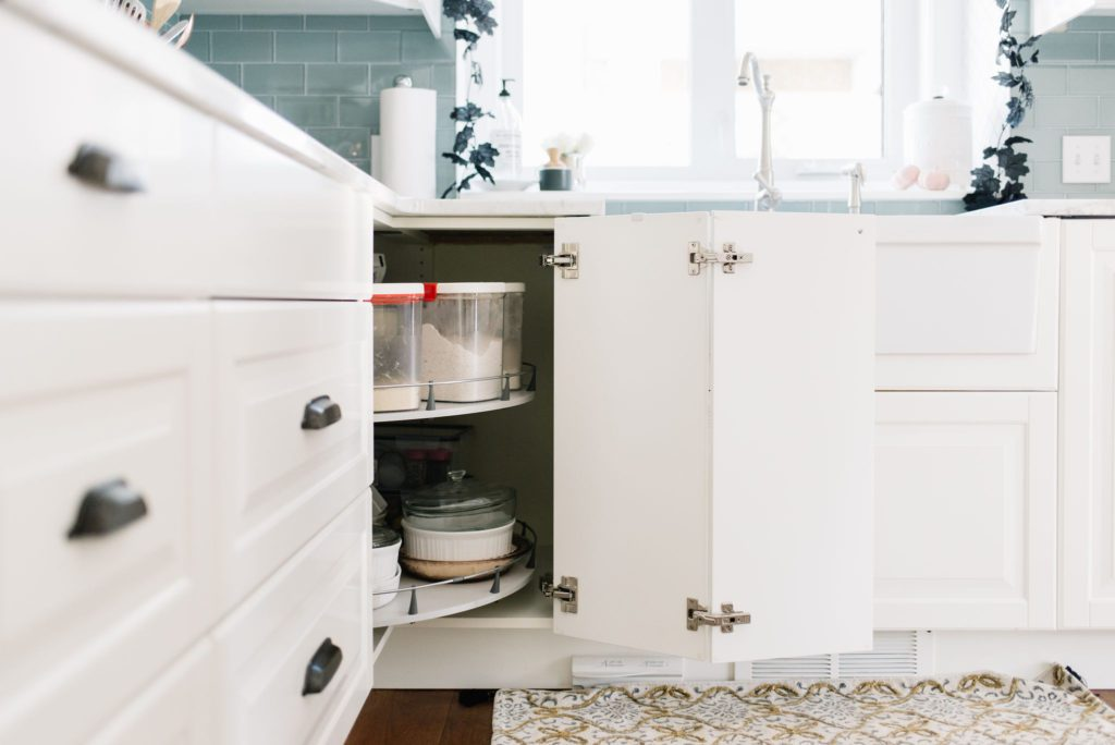 Pantry staples are stored within easy reach in a small kitchen