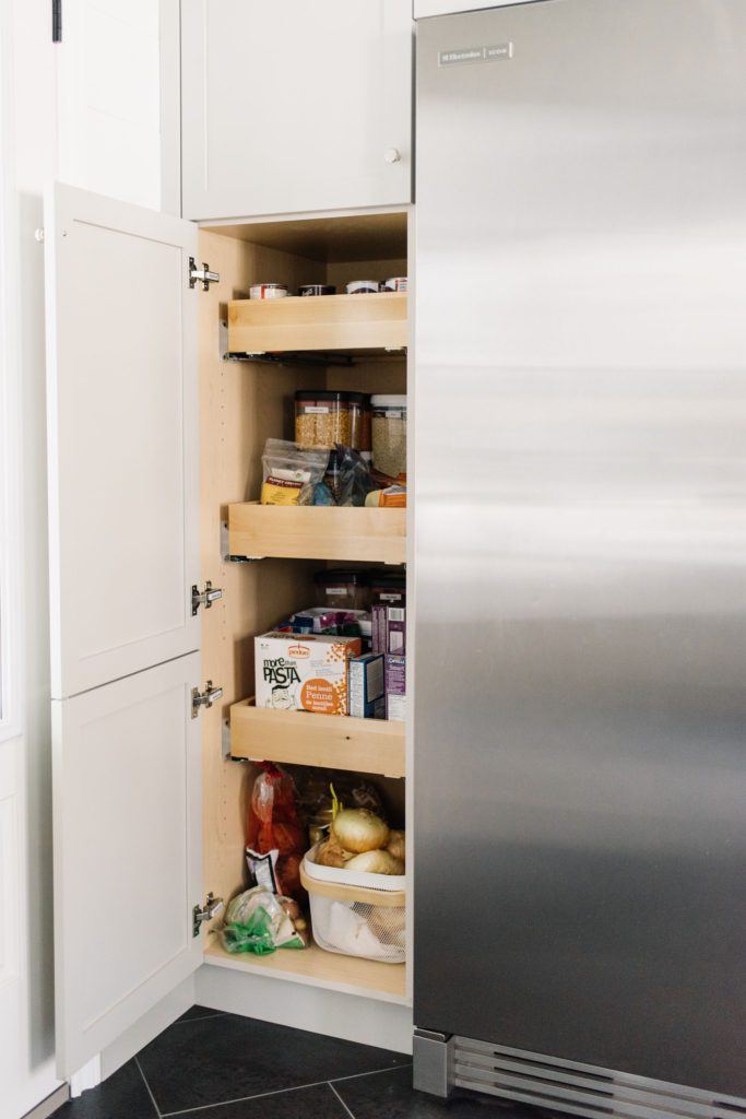 Pull out drawers are a functional storage option in a small space