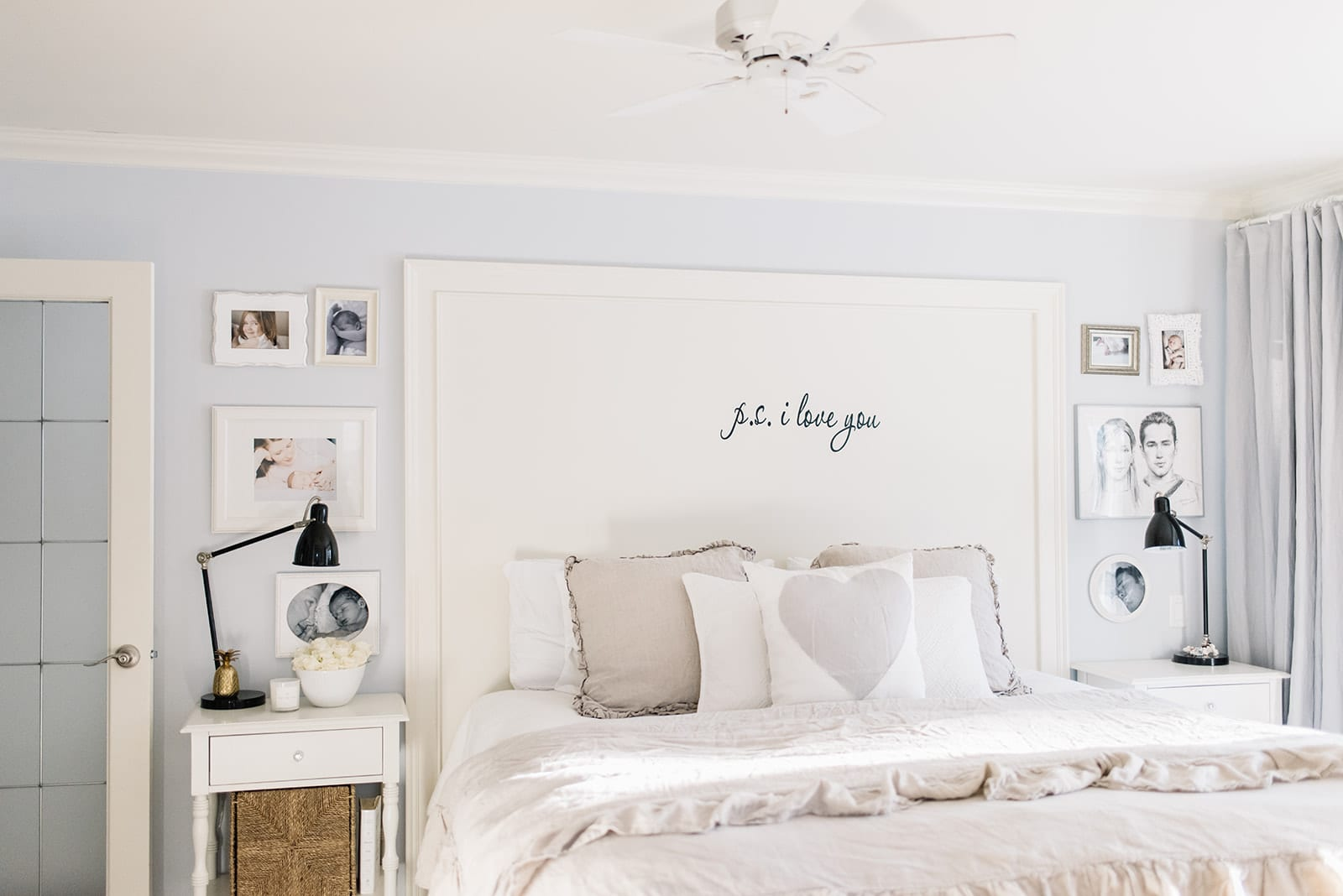A bedroom with a King size bed