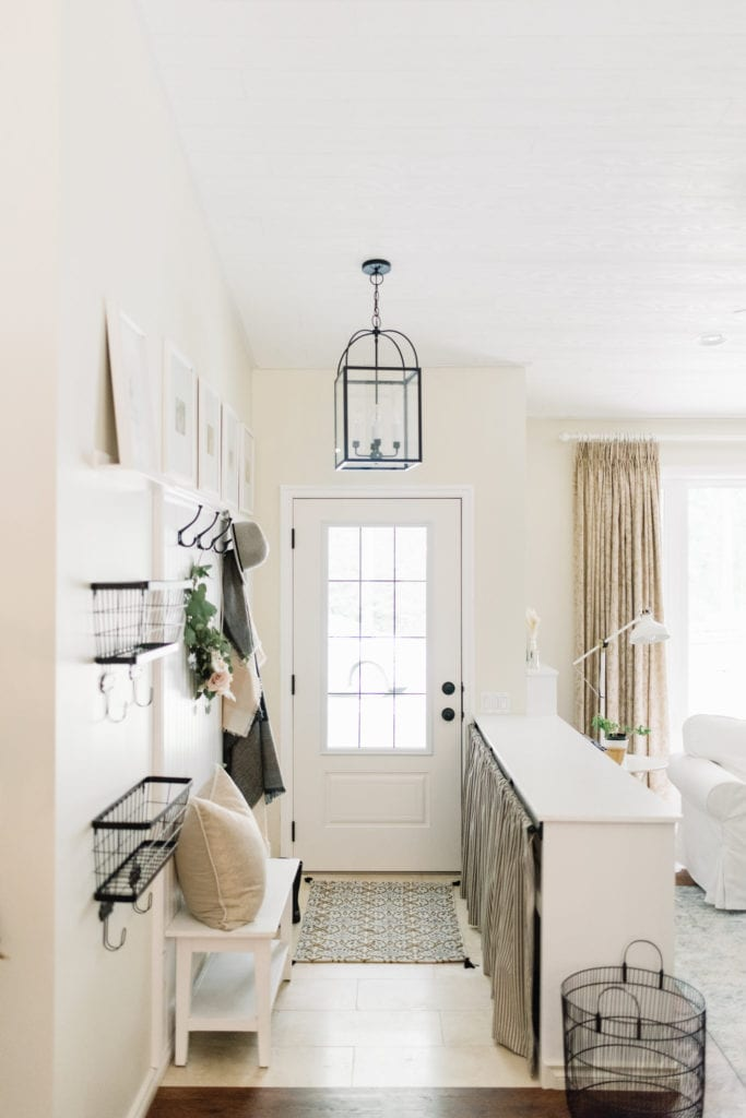entryway with hooks on wall