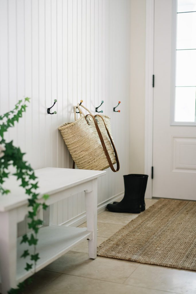 small entryway with hooks