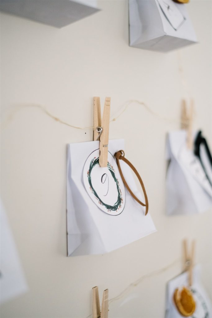 DIY christmas advent calendar paper bag with leather ribbon