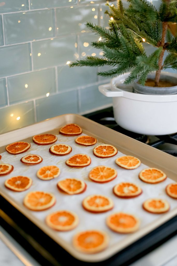 Christmas dried orange slices on a baking tray
