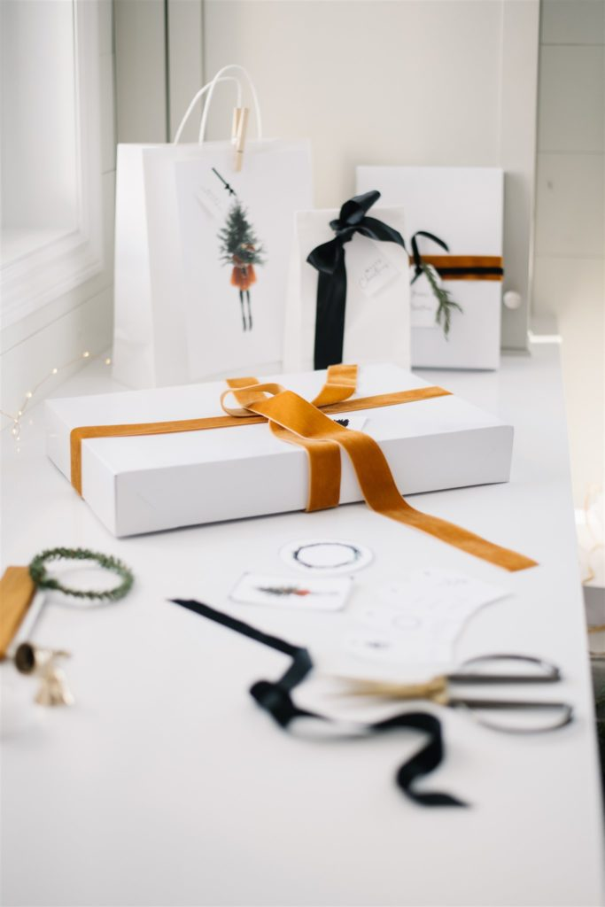 gifts wrapped with velvet ribbon