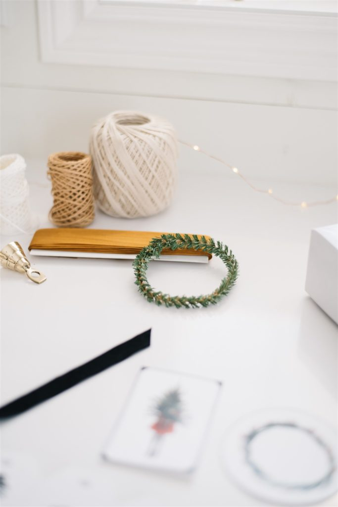 String, ribbon and greenery snippets