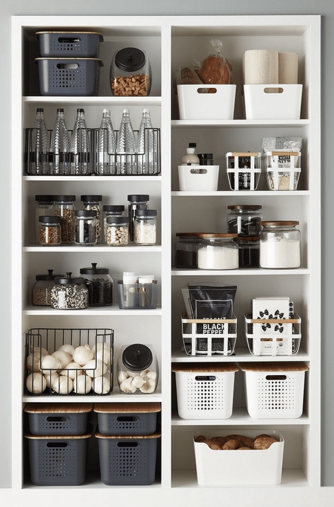 An organized black and white pantry