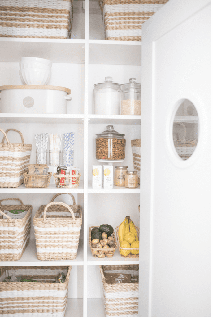 A organized and neutral pantry