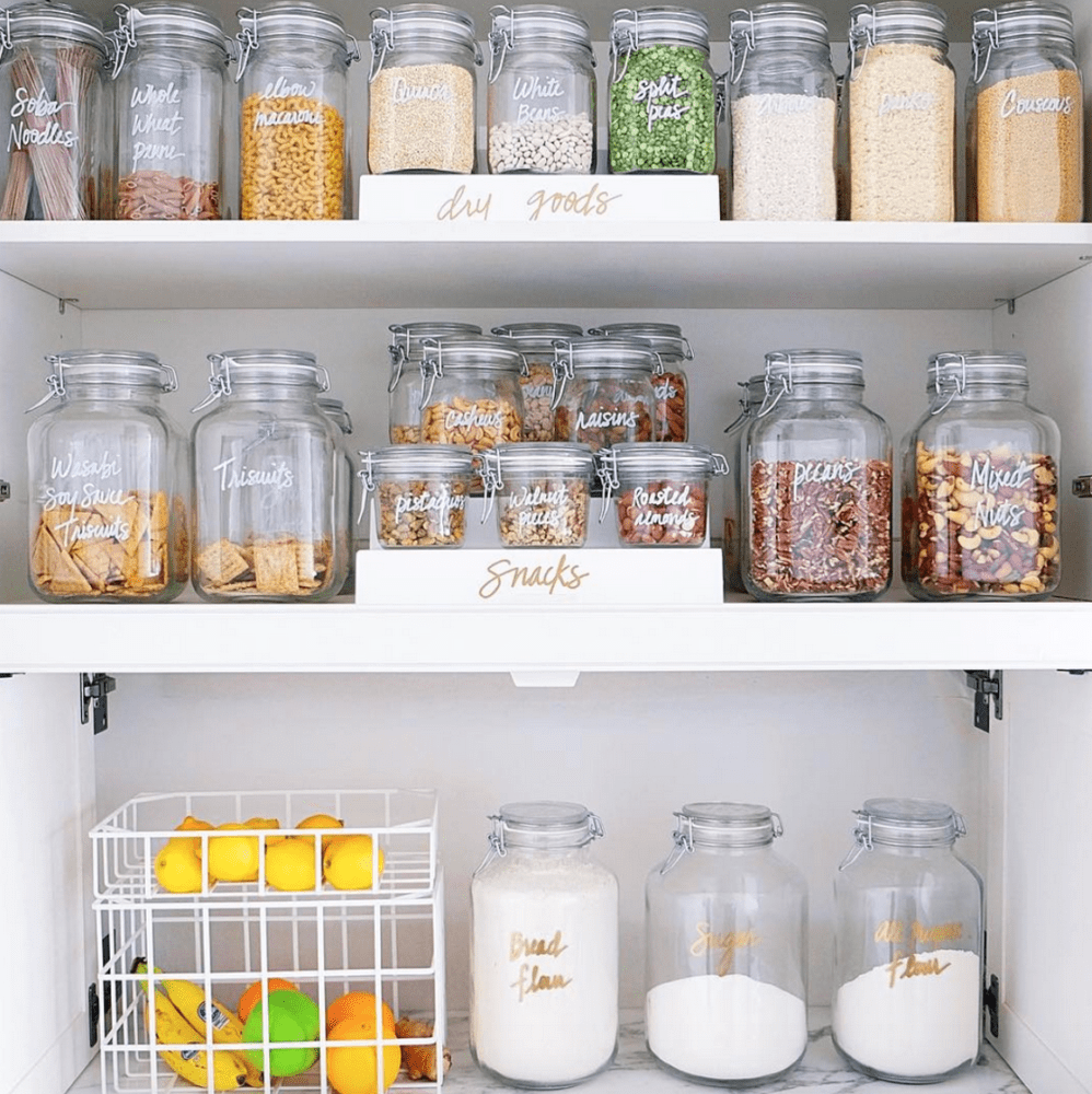 pantry with glass jars