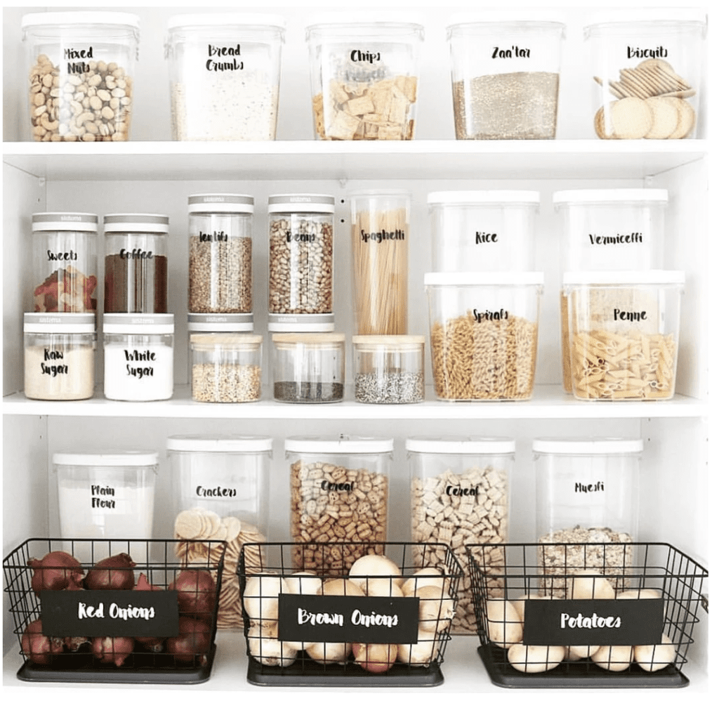 pantry organized with clear containers