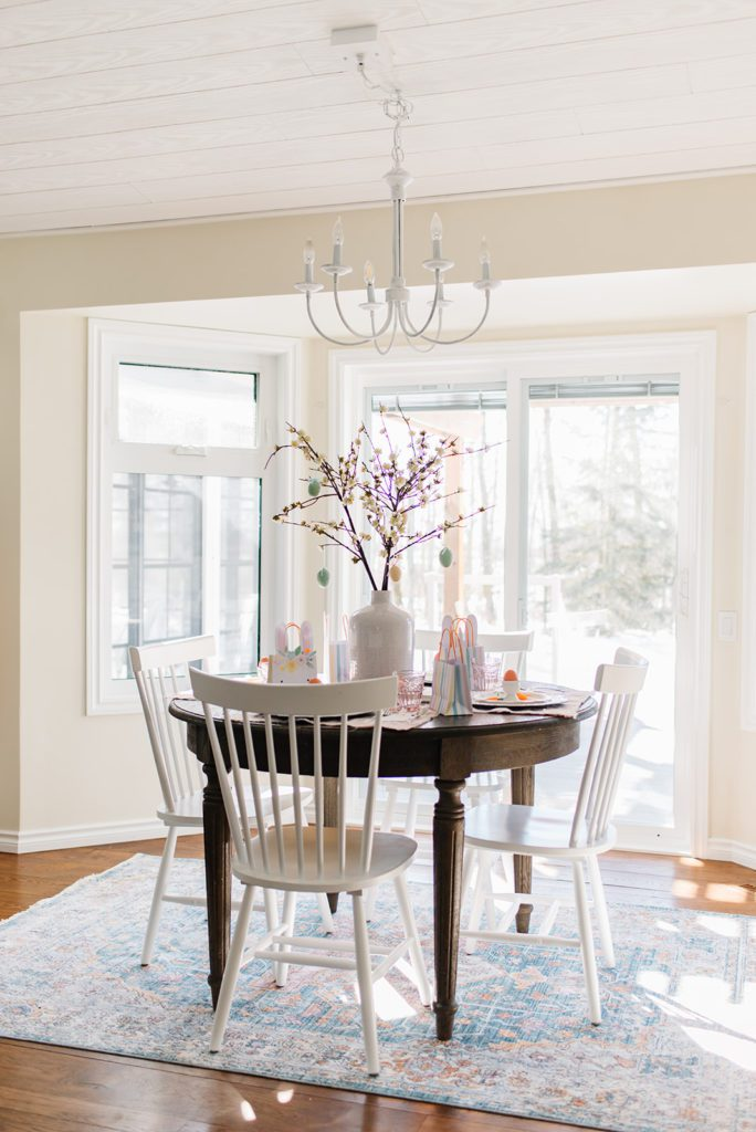 A dining room set up for Easter