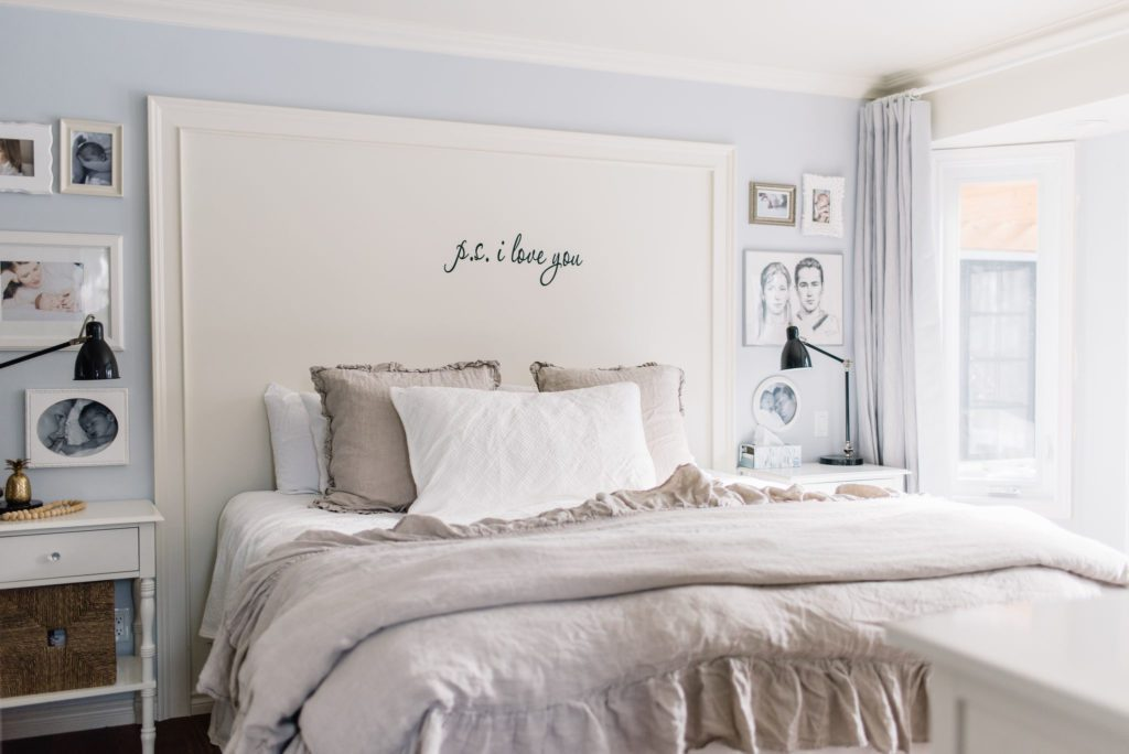 DIY faux headboard and king size bed in a small master bedroom
