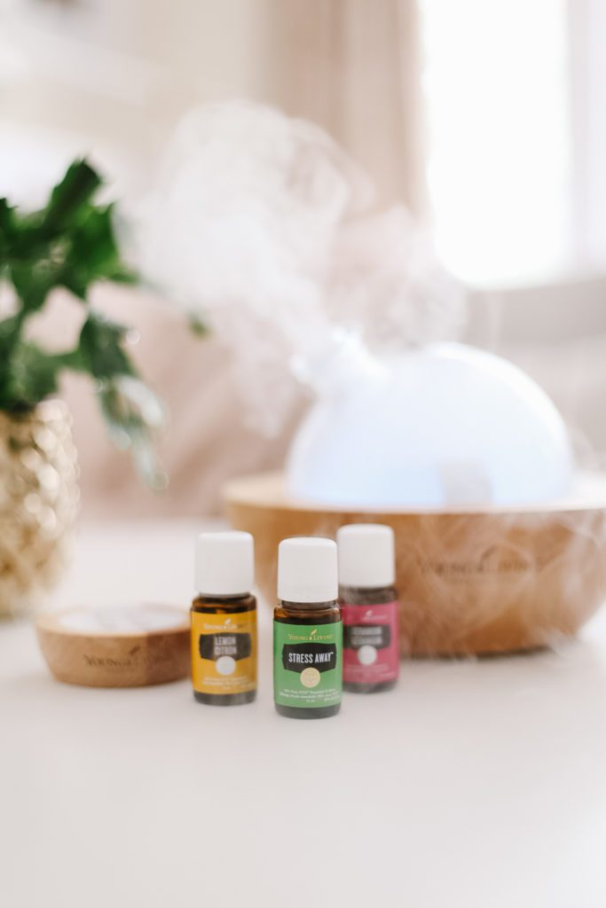 essential oils bottles in front of a glass dome diffuser