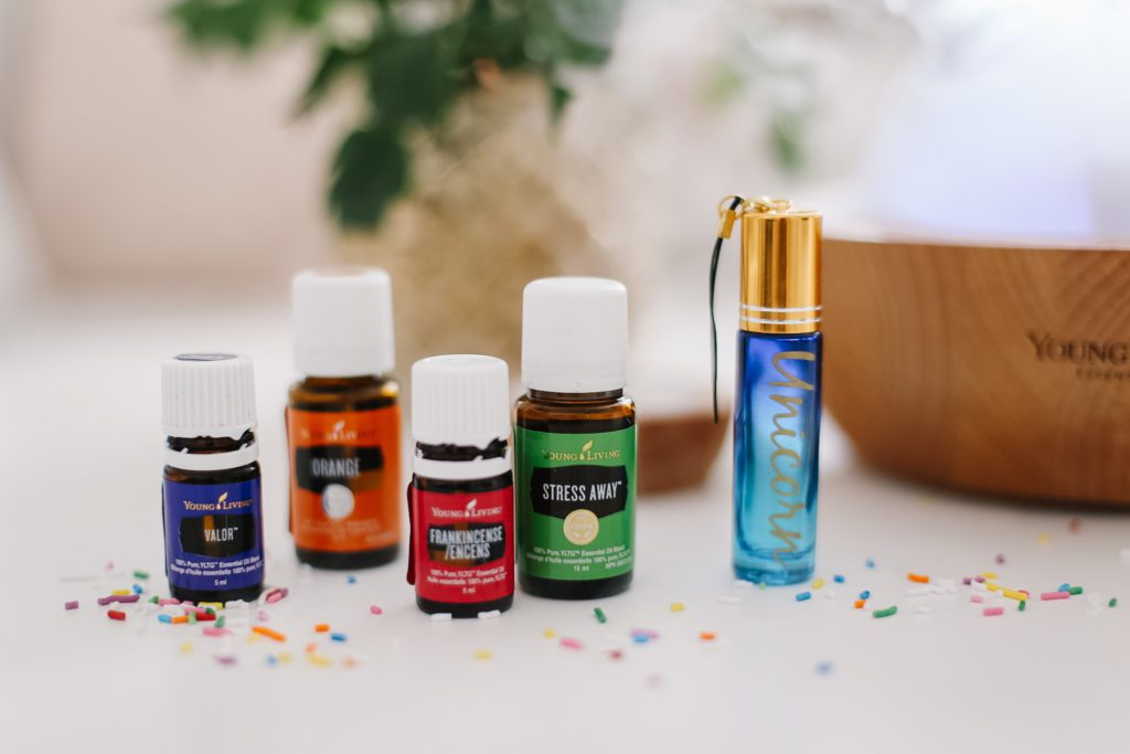 A close up of a bottles of essential oil from Young Living