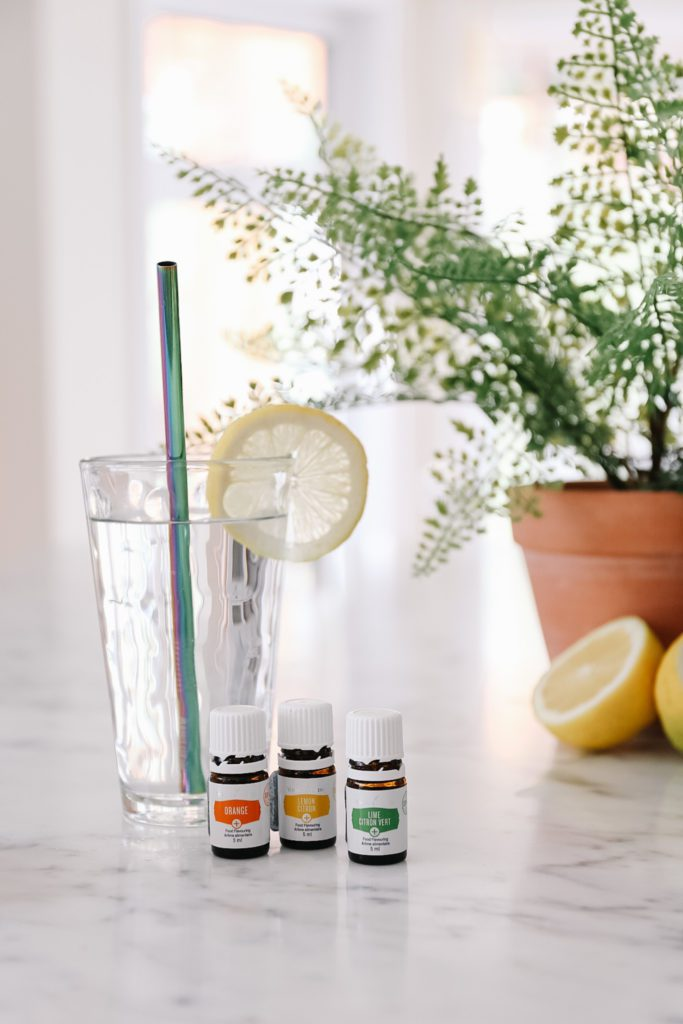 glass of water with essential oils