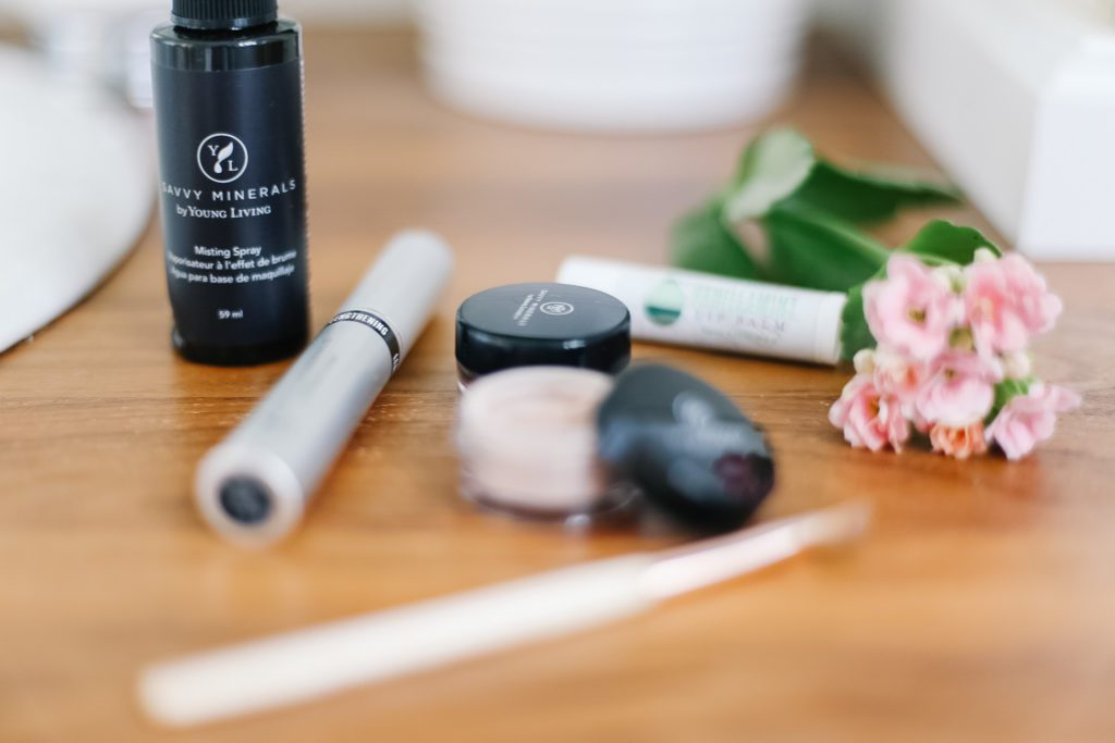 Natural makeup products on the bathroom counter
