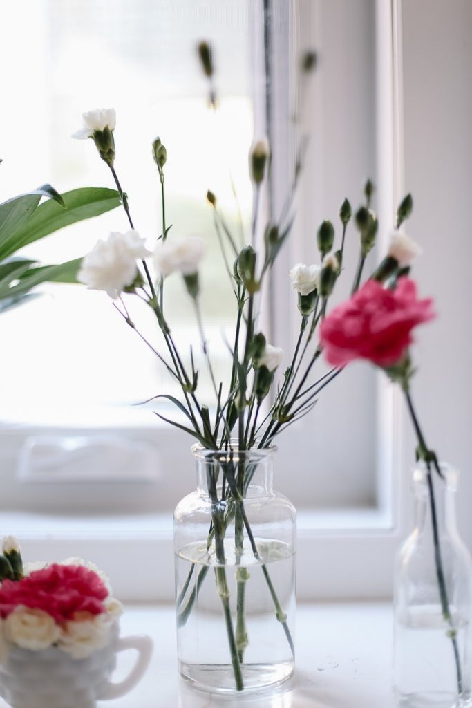 simple glass vase with a few carnation stems