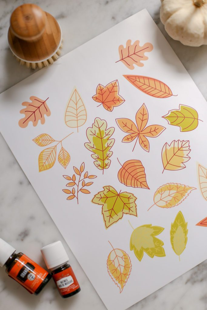 Printable Fall Stickers. Colorful Leaves on a white sheet of sticker paper