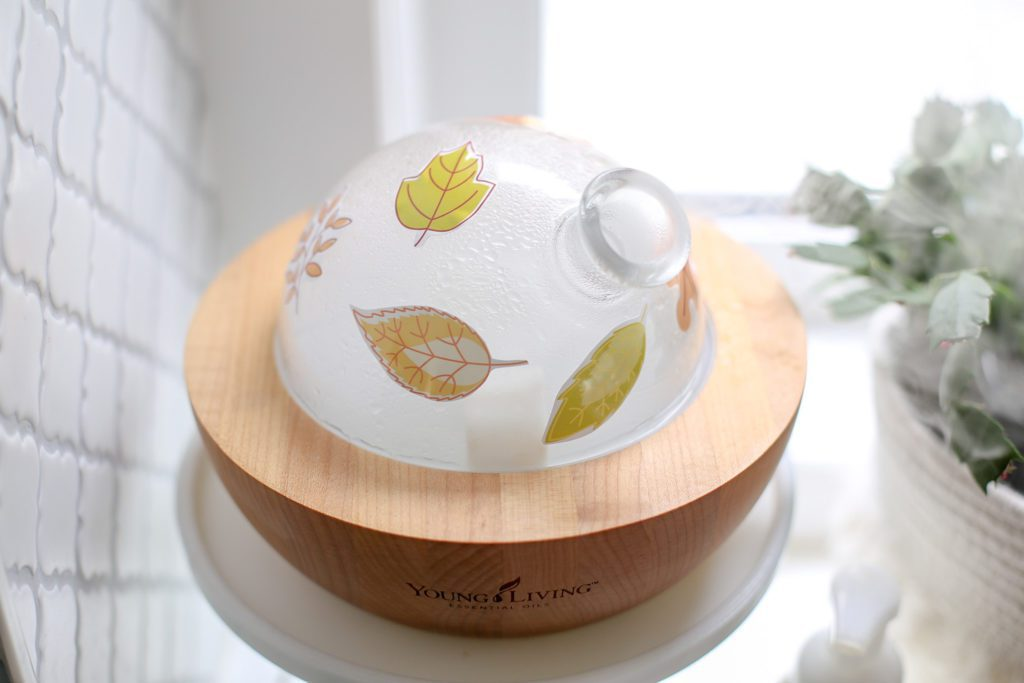 Decorated diffuser - fall leaf stickers on Young Living Aria Diffuser