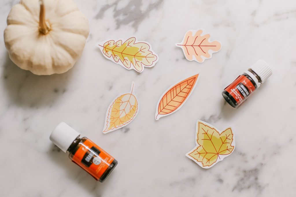 Free printable fall leaf stickers cut out sitting on a marble counter beside a pumpkin and essential oil bottles