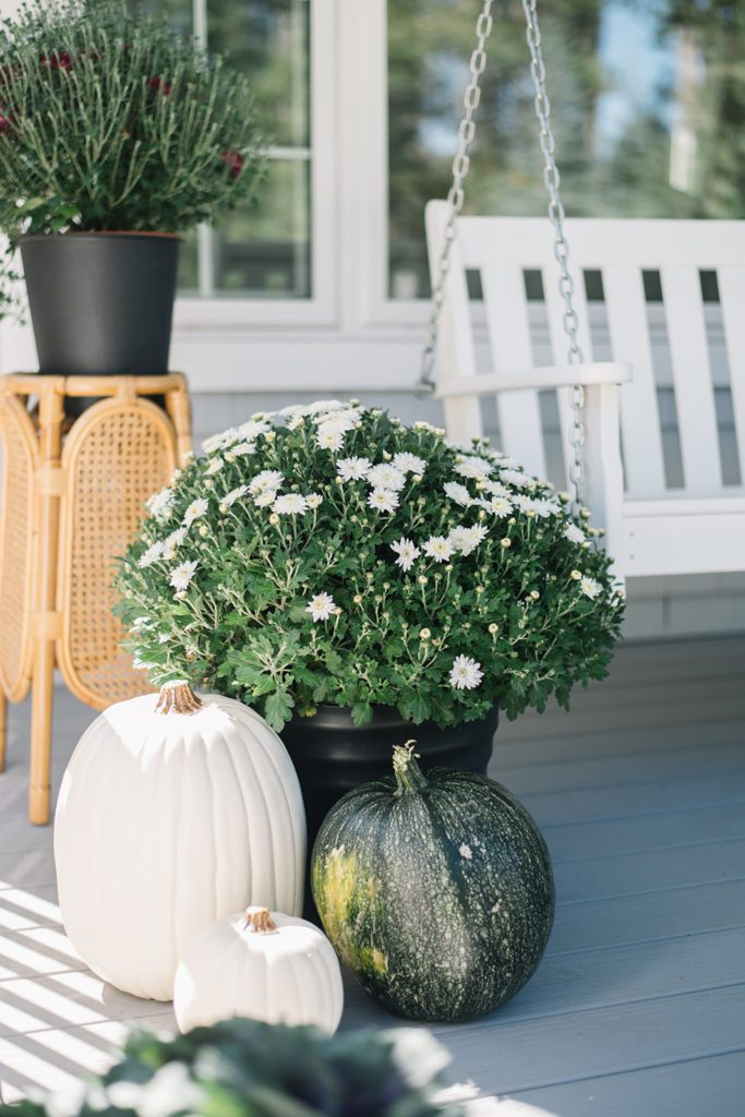 basket of white mums and pumpkins on fall front porch