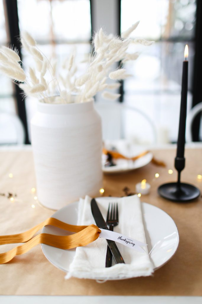 Fall table setting with burnished bronze ribbon