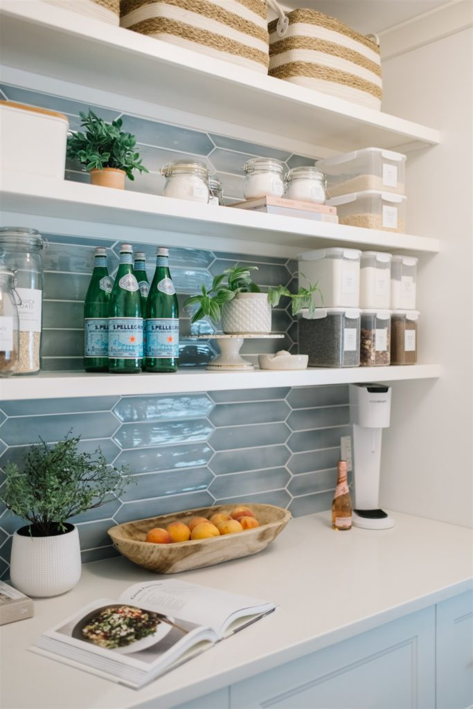 open shelving in a pantry
