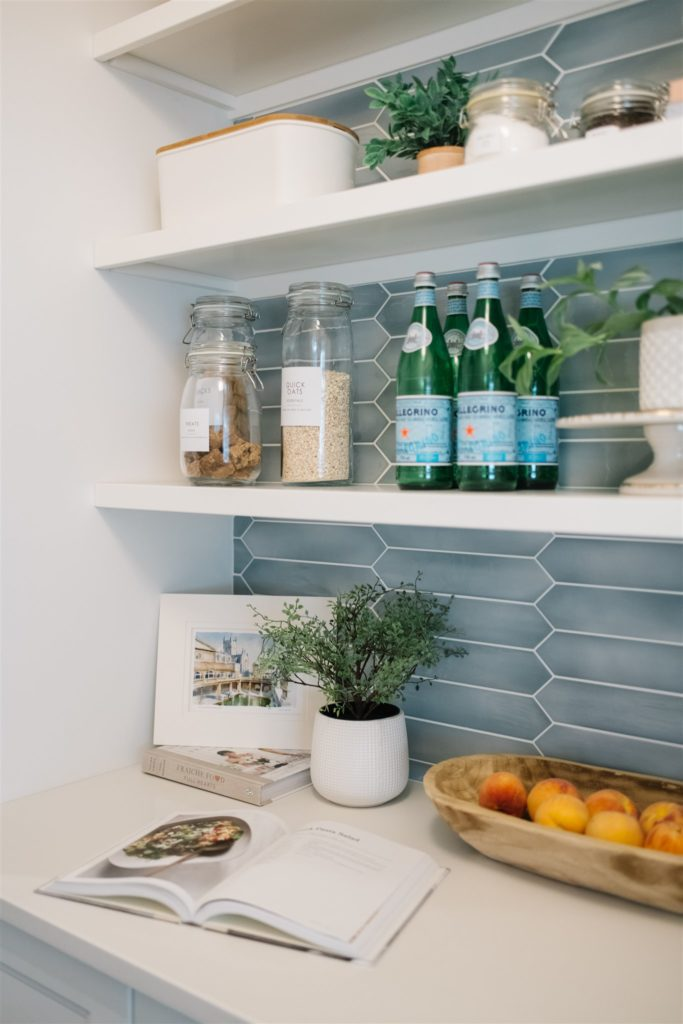 pantry with blue tile