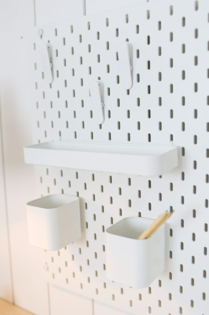 A close up of a pegboard
