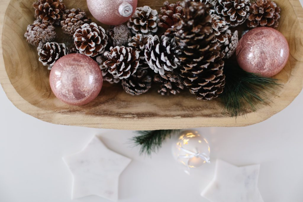 pinecones and ornaments