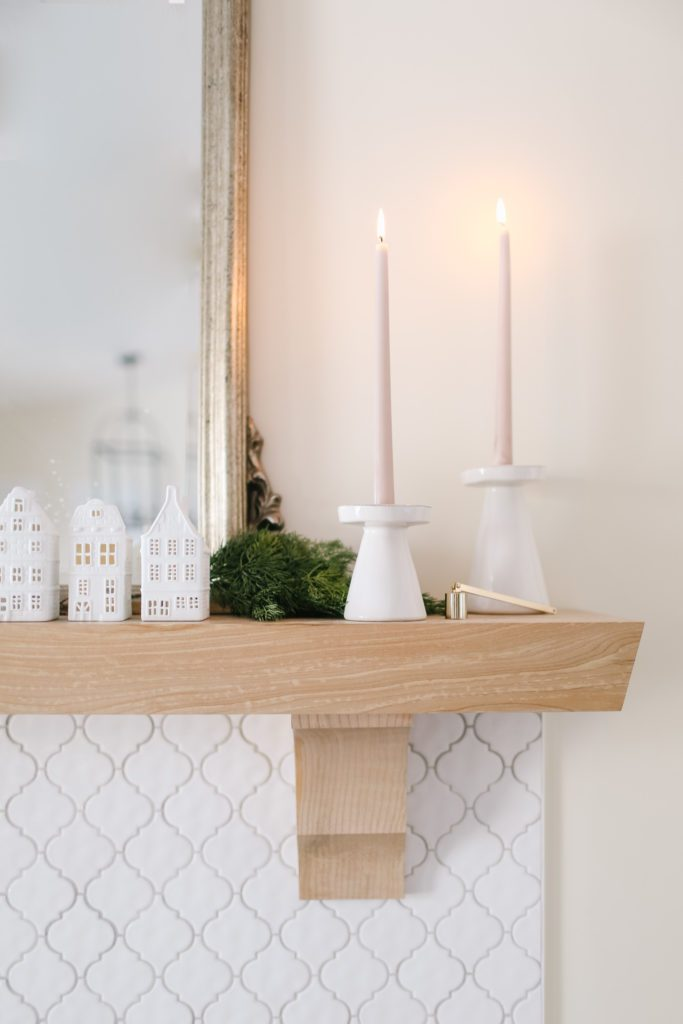 pink candles with white holders