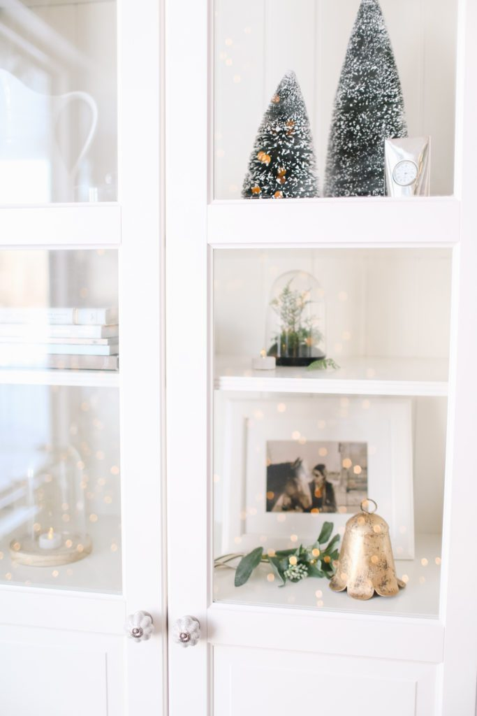 Christmas ornaments inside a bookcase