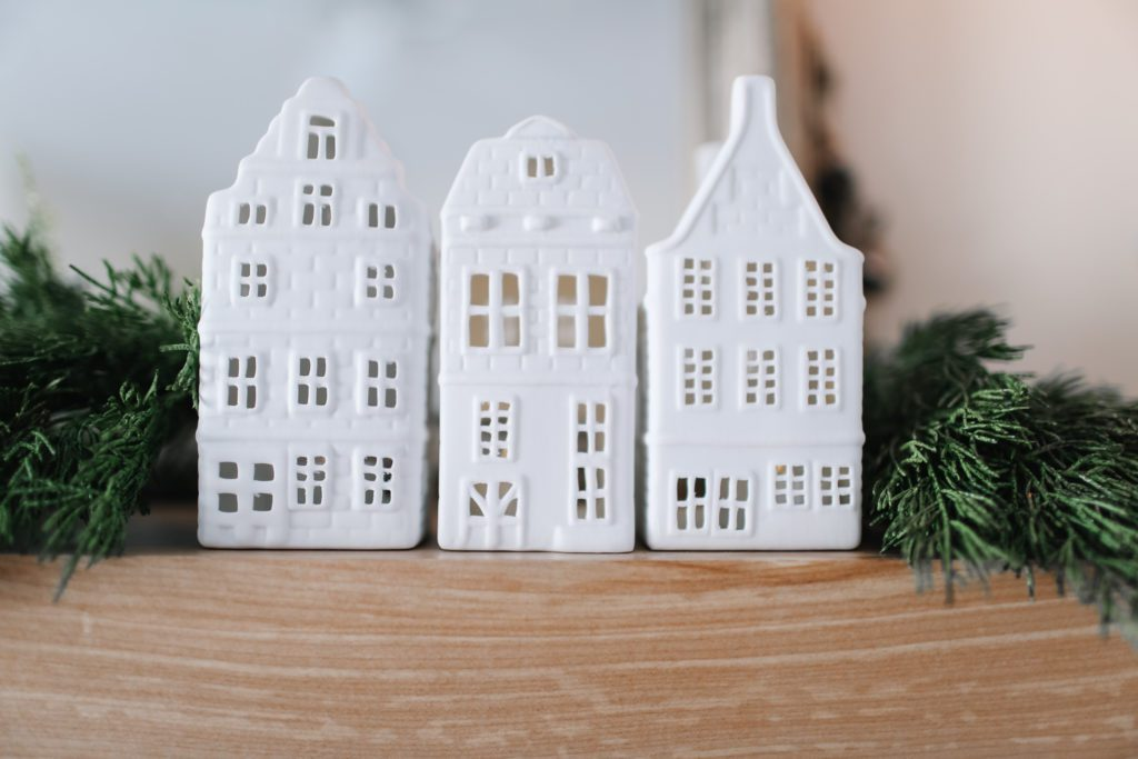 white Amsterdam house candle holders