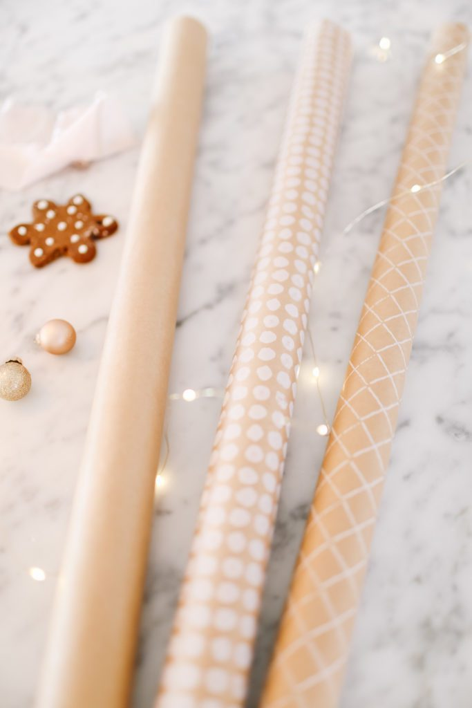 Brown paper gift wrap rolls