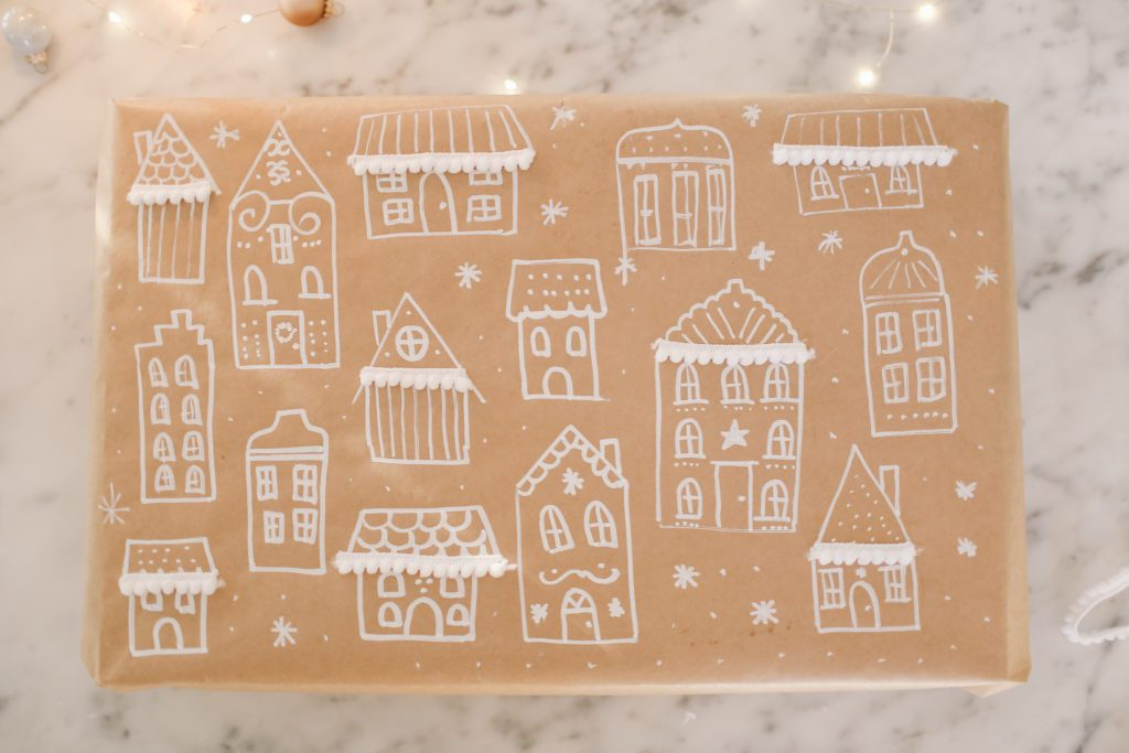hand drawn gingerbread gift wrap paper