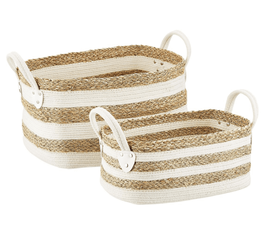 Striped seagrass and white baskets