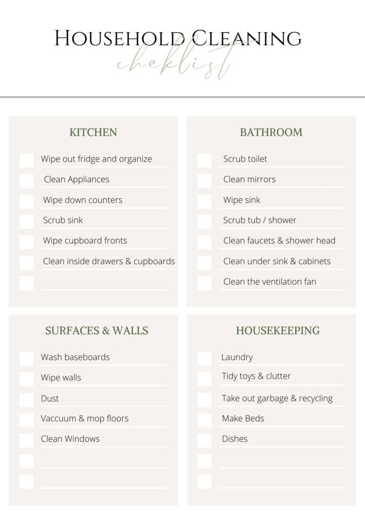Household cleaning checklist - sign up at the bottom of this post to get free printable cleaning charts