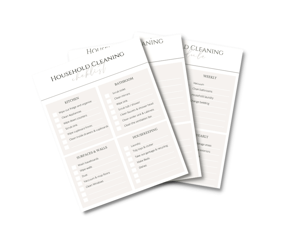 household cleaning checklist pages