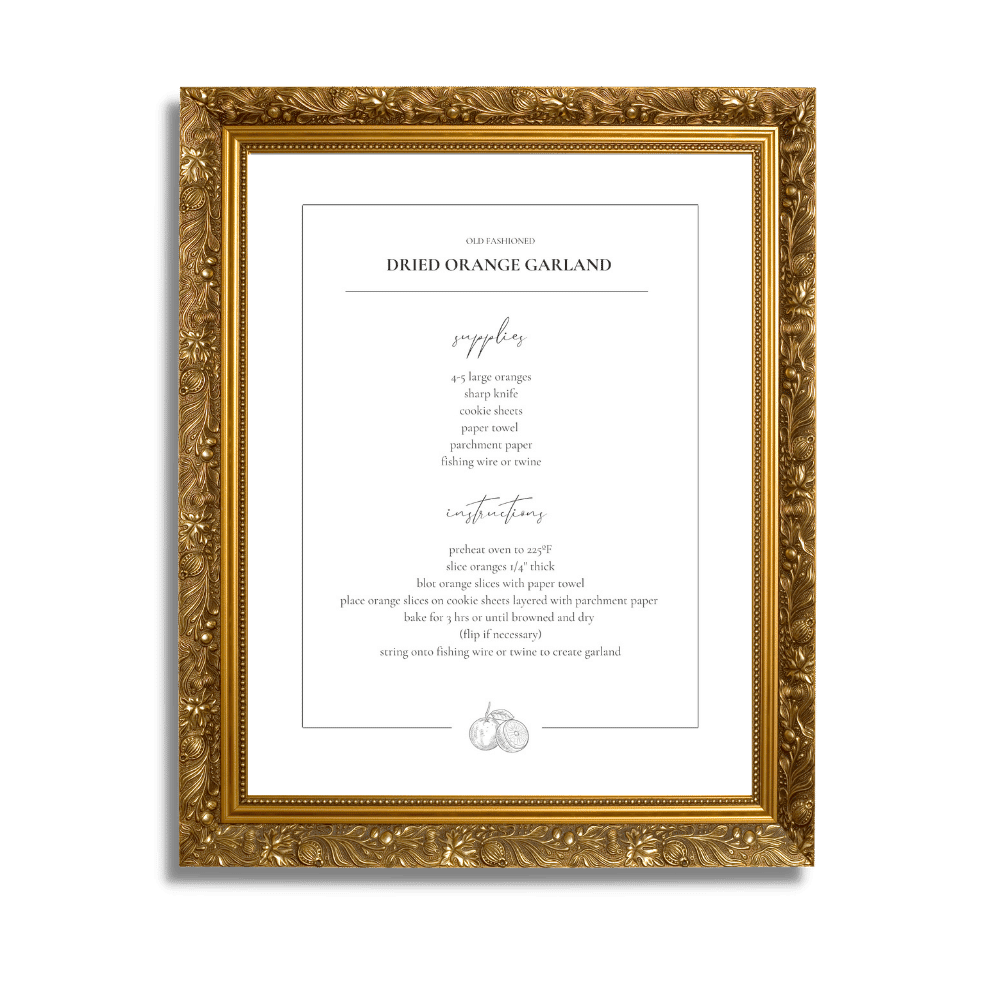 Orange Garland recipe print in a gold frame. Enter your email below to have a free printable file sent to you!